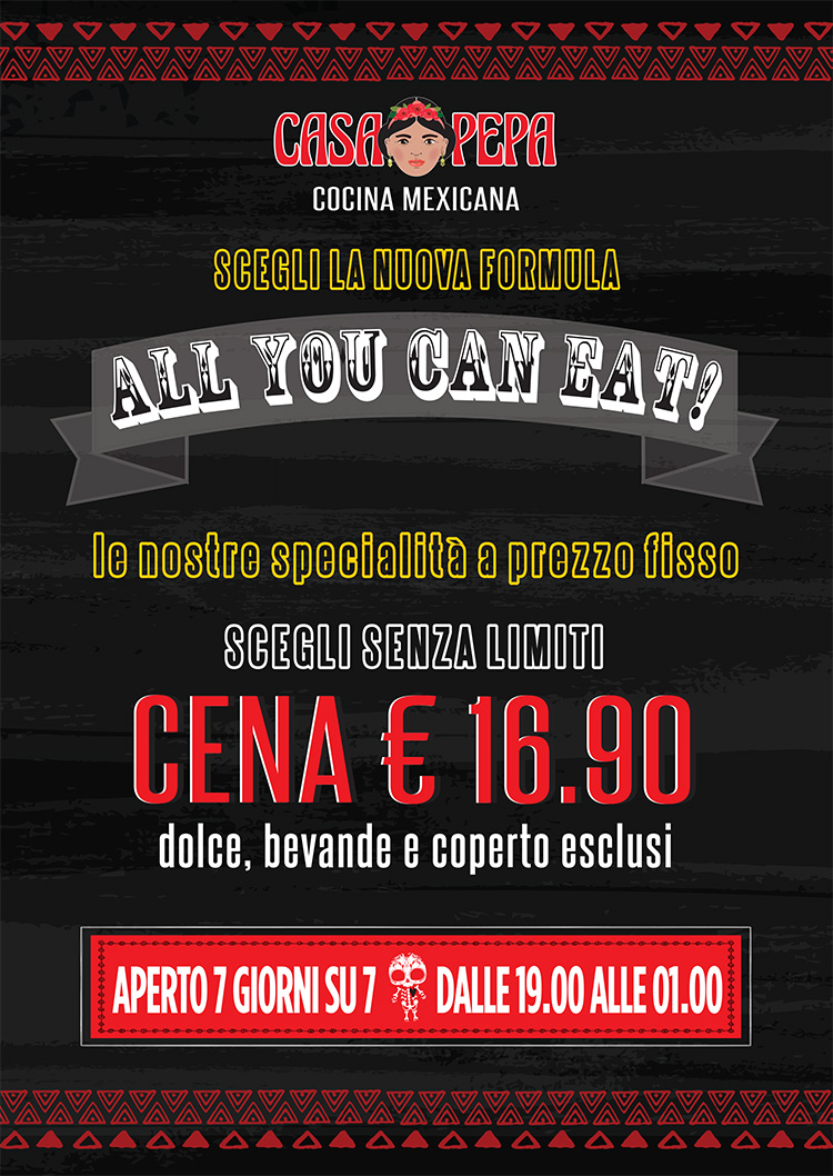 Menu all you can eat di Casa Pepa